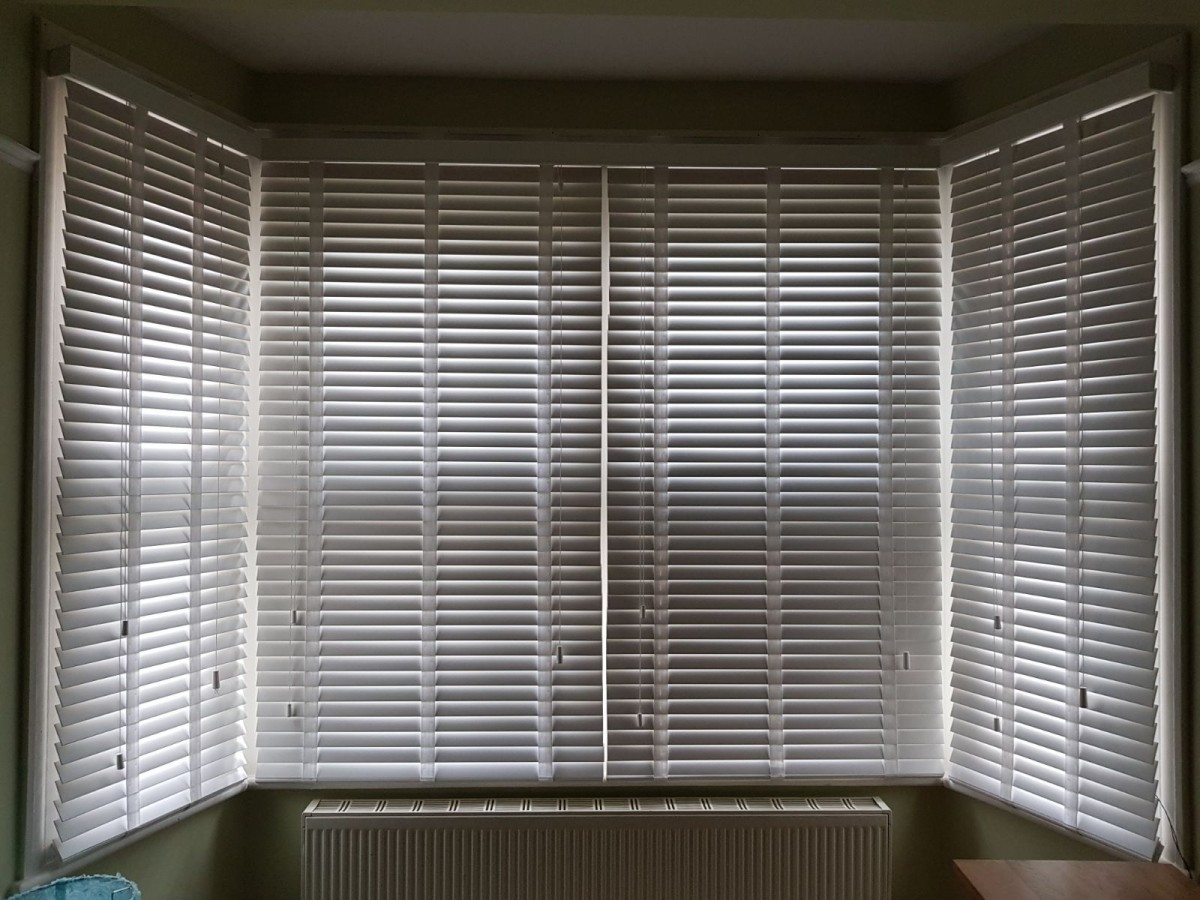 Wood Venetians in a bay window